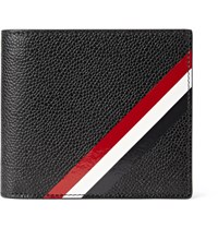 Thom Browne Striped Pebble Grain Leather Billfold Wallet Black