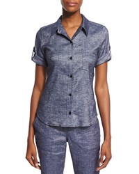 Theory Pauleen Tierra Washed Denim Top Size Small Deep Denim