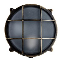 Old School Electric Round Bulkhead Outdoor Wall Light Antique Brass Bronze
