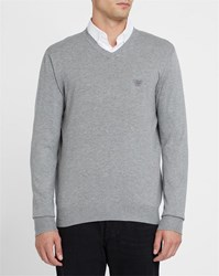 Armani Jeans Light Grey Chest Logo V Neck Sweater