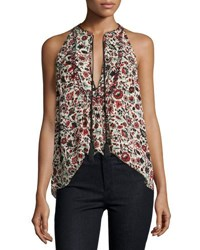 A.L.C. Levi Sleeveless Floral Silk Top Red Multicolor Red Pattern