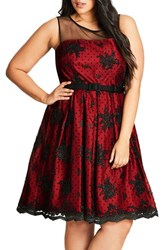 City Chic Plus Size Women's Embroidered Ruby Belted Fit And Flare Dress