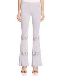 Pol Lace Inset Flare Pants Light Grey