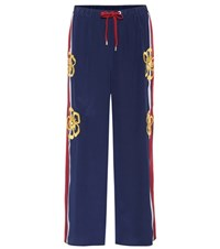 Red Valentino Embellished Silk Trousers Blue