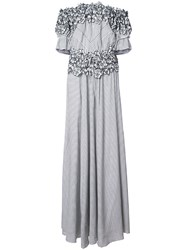 Zac Posen Maia Floral Embroidered Striped Gown Cotton Rayon Silk Black