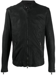 Giorgio Brato Zip Up Leather Jacket Black