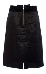 Ms Min Zip Front Satin Skirt Black