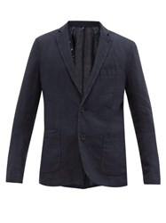 120 Lino Single Breasted Linen Suit Jacket Navy