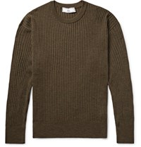 Ami Alexandre Mattiussi Ribbed Melange Merino Wool Sweater Army Green