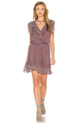 Twelfth St. By Cynthia Vincent Double Ruffle Dress Burgundy