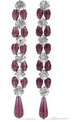 Ben Amun Crystal Bead And Silver Tone Earrings Plum