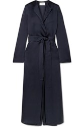 The Row Madie Belted Silk Satin Coat Navy