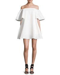 Halston Off The Shoulder Metallic Jacquard Cocktail Dress White
