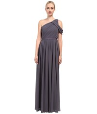 Donna Morgan Chloe One Shoulder Charcoal Women's Dress Gray