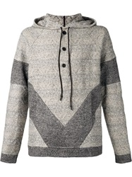 Thaddeus O'neil Diamond Pattern Hoodie Grey