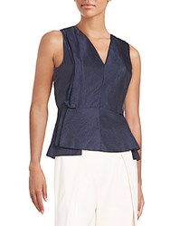 O'2nd Nicole Ruffled Peplum Top Navy