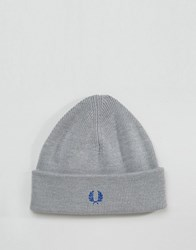 Fred Perry Merino Wool Logo Beanie In Grey Grey