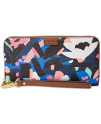 Fossil Emma Rfid Large Zip Around Wallet Painted Floral Pvc