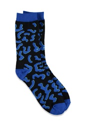 Forever 21 Squiggle Pattern Crew Socks Blue Black
