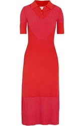 Maison Martin Margiela Ribbed Stretch Knit Midi Dress Red
