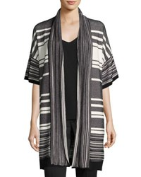 Vince Multi Stripe Short Sleeve Cardigan Black White
