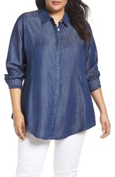 Foxcroft Plus Size Women's Chambray Tunic