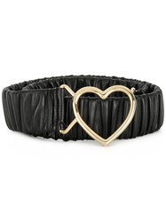 Dolce And Gabbana Heart Buckle Ruched Belt Black