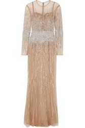 Zuhair Murad Baby Jane Embellished Silk Blend Tulle Gown Silver