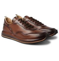 Officine Creative Race Lux Burnished Leather Sneakers Dark Brown