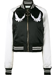 Off White Bird Embroidered Bomber Jacket Black