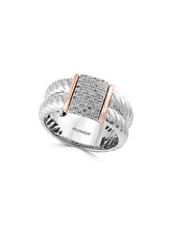 Effy 14K Rose Gold Sterling Silver And Diamond Accented Ring 0.18Tcw