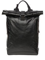 Diesel Black Gold Leather Effect Techno Canvas Back Pack