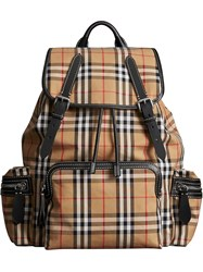 Burberry The Large Rucksack In Vintage Check Yellow And Orange