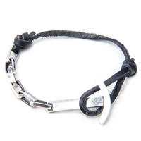 Anchor And Crew Leather Silver Brig Braceletblack