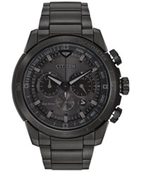 Citizen Men's Chronograph Eco Drive Black Ion Plated Stainless Steel Bracelet Watch 48Mm Ca4184 81E