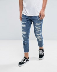 Cayler And Sons Skinny Jeans In Blue With Distressing Raw Hem Blue