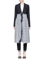 Cedric Charlier Smocked Check Hem Virgin Wool Blazer Multi Colour