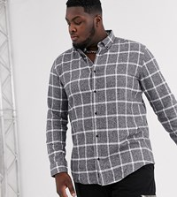 Only And Sons Window Pane Check Shirt In Grey