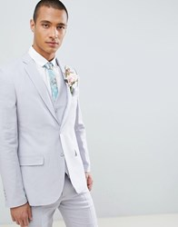 French Connection Wedding Linen Slim Fit Suit Jacket Light Grey