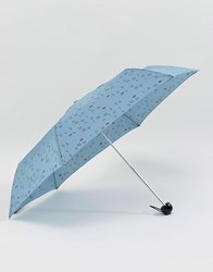 Lulu Guinness Superslim 2 Letters Mist Blue Umbrella