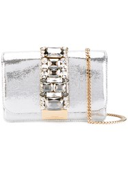Gedebe Stoned Clutch Bag Women Calf Leather Crystal One Size Metallic