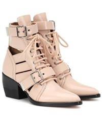 Chloe Rylee Leather Ankle Boots Pink