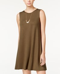 One Clothing Juniors' Sleeveless A Line Swing Dress Olive