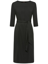 Jaeger Cocoon Pleated Back Dress Forest Green