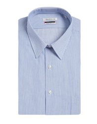Van Heusen Pinstripe Cotton Dress Shirt Light Blue