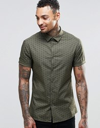 Asos Skinny Shirt In Khaki With Triangle Print And Short Sleeves Khaki Green