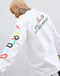 Diamond Supply Co. Tropicana Long Sleeve T Shirt With Sleeve Print In White