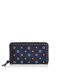Tory Burch Marguerite Zip Embellished Suede Continental Wallet Royal Navy Gold
