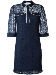 Essentiel Antwerp Lace Shirt Dress Women Polyamide Viscose 38 Blue