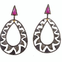 Meghna Jewels Interlocking Claw Earrings Black And Champagne Diamonds Black Pink Purple